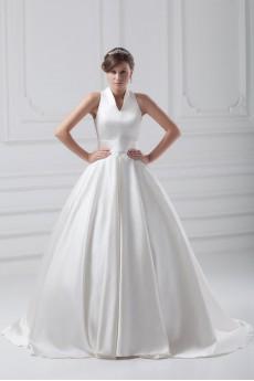 Satin V-Neck Ball Gown