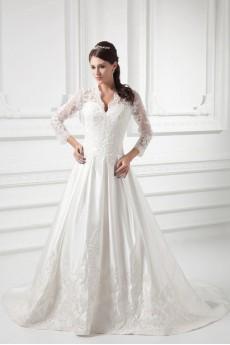 Satin V Neckline A Line Lace Gown