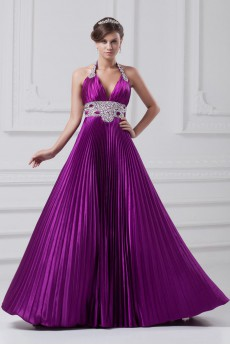 Satin Halter A Line Gown with Embroidery