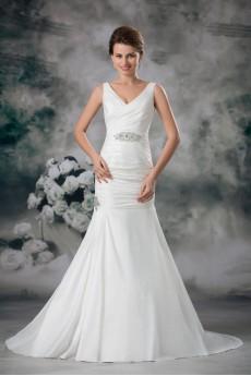Taffeta V-Neck Sheath Dress with Embroidery