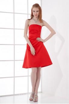 Satin Strapless A Line Dress