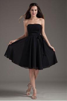 Chiffon Strapless Black Knee Length Dress with Sash