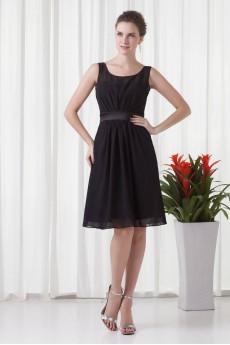Chiffon Scoop Short Dress with Sash