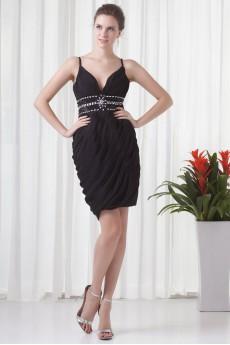 Chiffon V Neckline Short Dress with Directionally Ruched Bodice