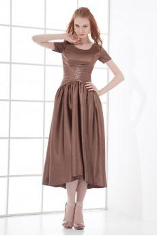 Satin Scoop Sheath Tea-length Short Sleeves Dress