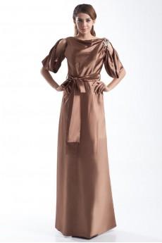 Satin Portrait Column Dress with Sash