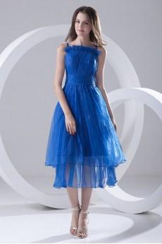 Organza A Line Tea-Length Dress with Sash