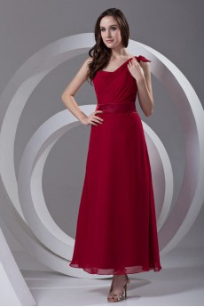 Chiffon Asymmetrical A Line Ankle-Length Dress with Sash