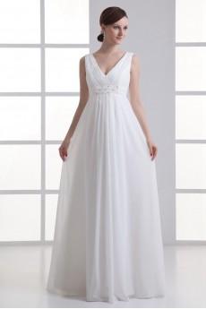 Chiffon V Neckline Empire Beaded Gown