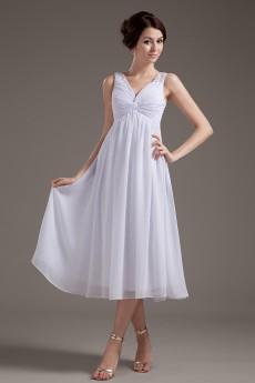 Chiffon V-Neckline Tea-Length Column Dress with Beaded