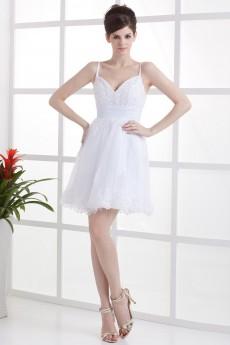 Satin Spaghetti Straps Short Dress