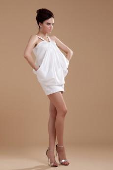Taffeta Straps Neckline Short Dress with Embroidery