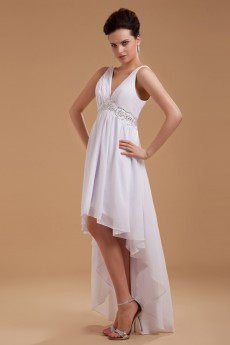 Satin V-Neckline Short Dress with Embroidery