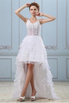 Gauze V-Neckline A-line Dress with Embroidery