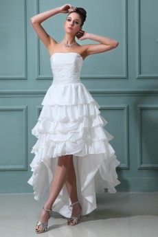 Taffeta Strapless Ankle-Length A-line Dress with Ruffle