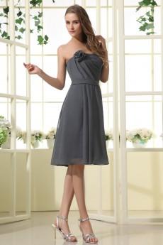 Chiffon Strapless Short Dress with Handmade Flower