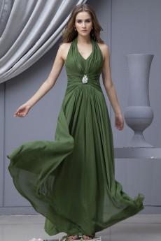 Chiffon Halter Neckline Floor Length Column Dress with Embroidery
