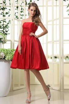 Taffeta Scoop Neckline Short A-line Dress with Ruffle