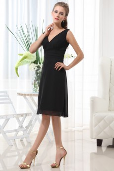 Chiffon V-Neckline Short A-line Dress with