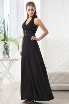 Taffeta Halter Neckline Floor Length A-line Dress with Beaded