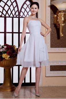 Chiffon Strapless Short A-line Dress with Ruffle