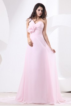 Chiffon One-Shoulder A-line Dress with Drape and Handmade Flower