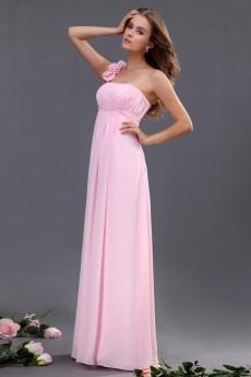Chiffon One-Shoulder Floor Length A-line Dresss