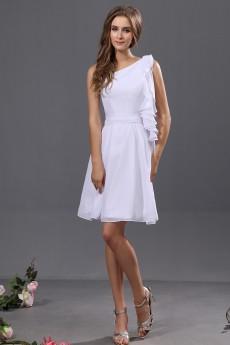 Chiffon One-Shoulder Short A-line Dress with Ruffle