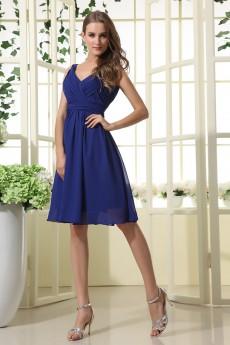 Chiffon V-Neckline Short Dress with Ruffle