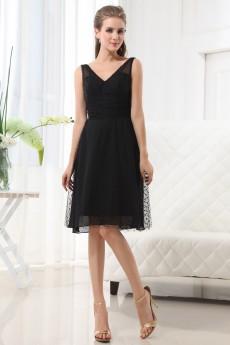 Gauze and Satin V-Neckline Short A-Line Dress with Beaded