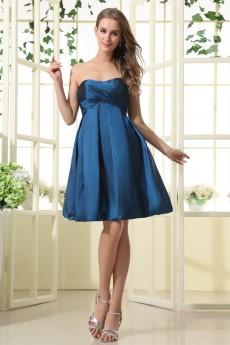 Taffeta Scoop Neckline Thigh Length A-Line Dress with Ruffle