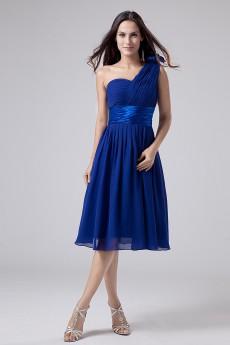 Chiffon One-Shoulder Short Dress with Ruffle and Sash