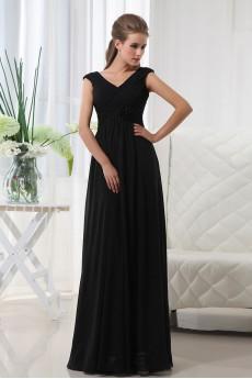 Chiffon V-Neckline Floor Length A-line Dress with Hand-made Flower