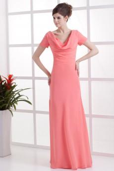 Chiffon V-Neckline Floor Length Column Dress with Short Sleeves