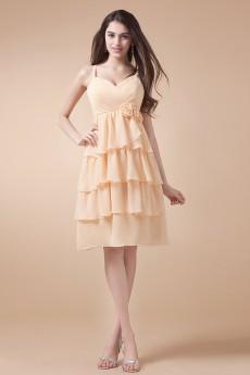 Chiffon Spaghetti Straps Short Dress with Hand-made Flower