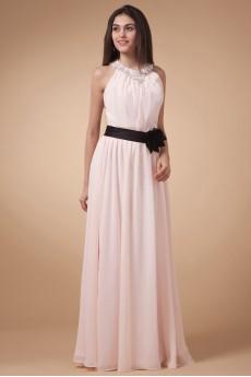 Chiffon Jewel Neckline Floor Length Column Dress with Hand-made Flower