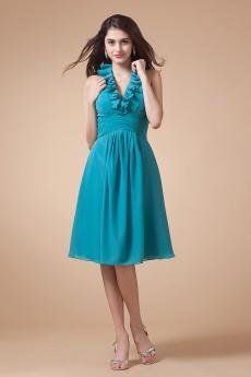 Chiffon V-Neckline Short A-line Dress with Drape