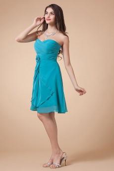 Chiffon Sweetheart Short Dress with Handmade Flower