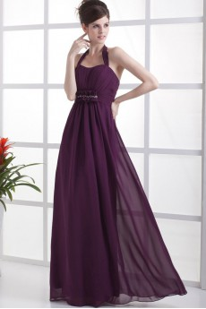 Chiffon Straps Neckline Floor Length Column Dress with Ruffle