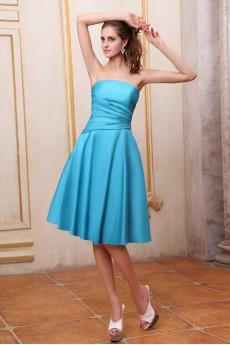 Taffeta Strapless Short A-line Dress with Ruffle