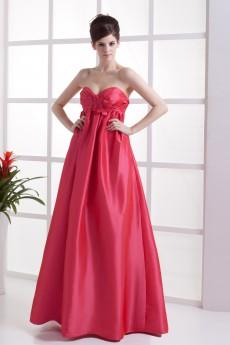Taffeta Sweetheart Floor Length A-line Dress with Embroidery