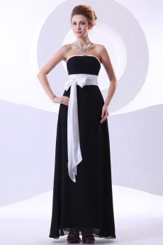 Chiffon Strapless Ankle-Length Column Dress with Sash
