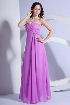 Chiffon Sweetheart Floor Length Column Dress with Ruffle