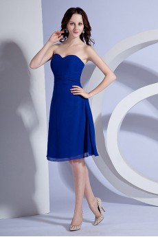 Chiffon Sweetheart Short A-line Dress with Sash
