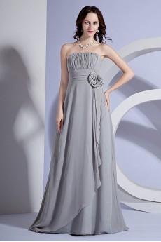 Chiffon Strapless A-line Dresss