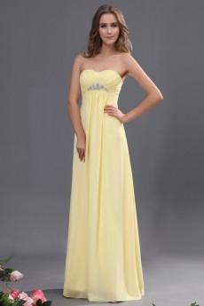 Chiffon Sweetheart Floor Length Empire Line Dress