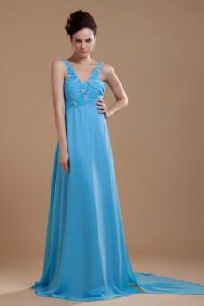 Chiffon V-Neckline Floor Length A-line Dress