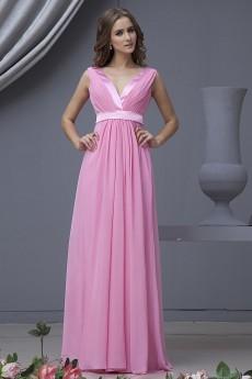 Chiffon V-Neckline Floor Length Column Dress with Ruffle