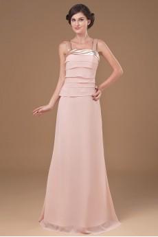 Chiffon Straps Neckline Floor Length A-line Dress