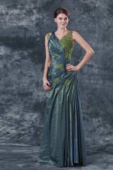 Satin V-Neckline Floor Length A-line Dress